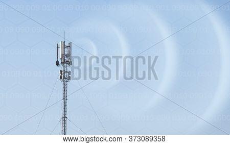 Mobile Radio Antenna. 4 G. 5 G. Radio Tower. Radio Waves And The Internet.