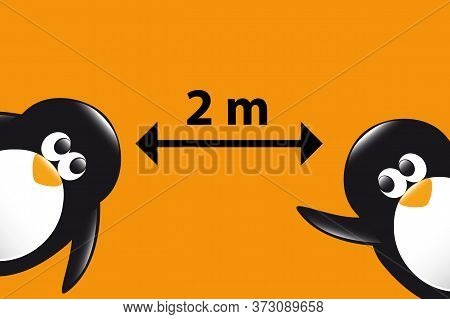 Social Distance Funny Penguins Cartoon On Orange Background Vector Illustration Eps10