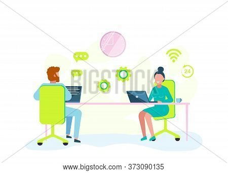 A man and a woman are working hard with a laptop. Vector business illustration. Business people. Business background. Infographic business arrow shape template design. Business background