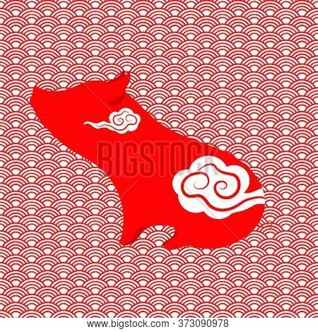 Chinese Lunar New Year Poster With Cute Pig -  One Of The Chinese New Year Symbol. Vector Illustrati