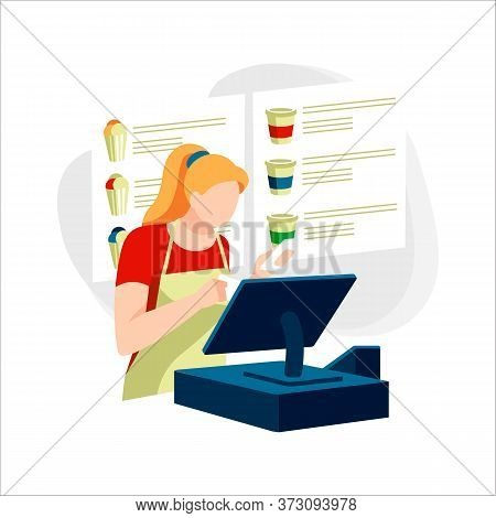 Seller With Cash Register At Fast Food Restaurant. Female Character In Apron At Workplace In Cafe. C