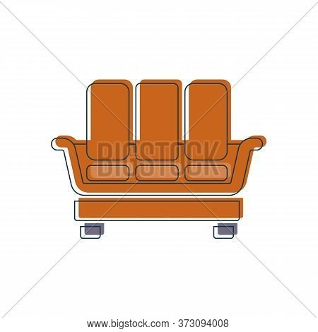 Comfortable Sofa With Three Pillows. Image Of Couch In Thin Line Art Style. Element Furniture Of The