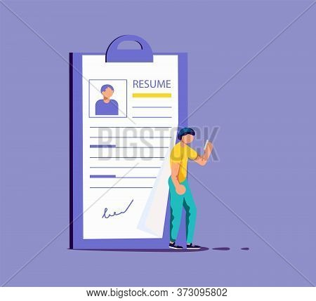 Tiny Man Select A Resume For A Job. Big Application Form For Employment. Work Hiring Concept For Rec