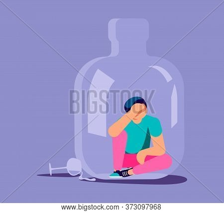 Lonely Alcoholic Man Trapped In A Bottle. Alcohol Addiction Metaphor. Isolated On Purple. Flat Art V