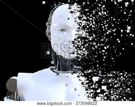 3d Rendering Of The Head Of A Male Robot. The Head Is Breaking Apart Into Pixels Or Windows. Black B
