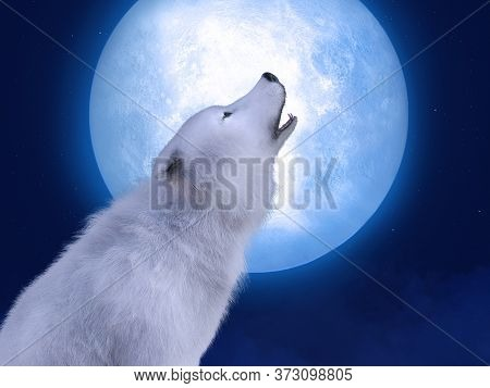3d Rendering Of A Majestic White Wolf Sitting Down And Howling To A Big Moon. Stars In The Night Sky