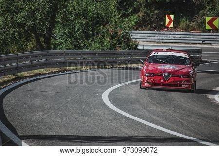 Skradin Croatia, June 2020 Alfa Romeo 156 Stw From Sternad Racing Seen From A Distance During A High
