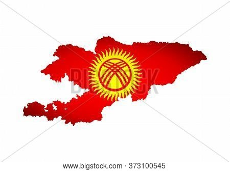 Vector Isolated Illustration With Kyrgyz National Flag With Shape Of Kyrgyzstan Map (simplified). Vo