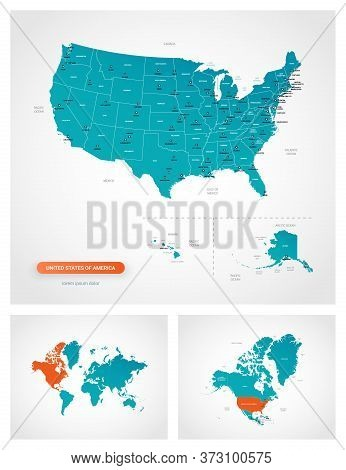 Editable Template Of Map Of United States Of America With Marks. United States Of America On World M