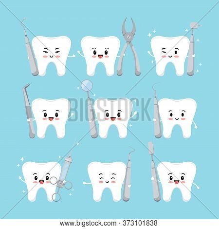 Cute Tooth With Dental Tools Icons Set Isolated On Blue Background. White Kawaii Teeth Emoji Sign Wi