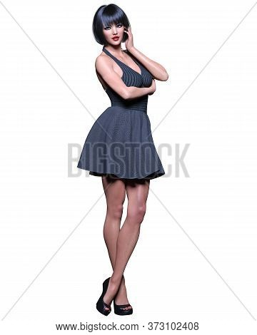 Beautiful Brunette Woman Black Short Dress.summer Clothes Collection.bright Makeup.woman Studio Phot