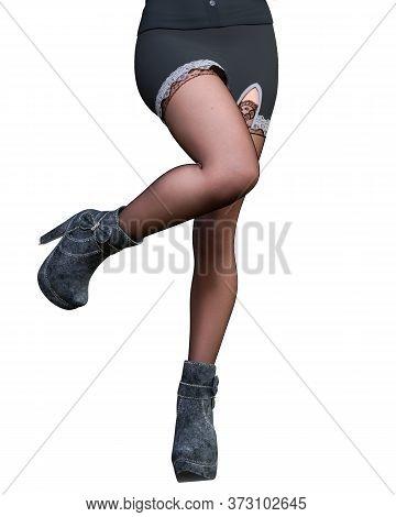 Beautiful Female Leg In Short Mini Skirt And Stockings.
