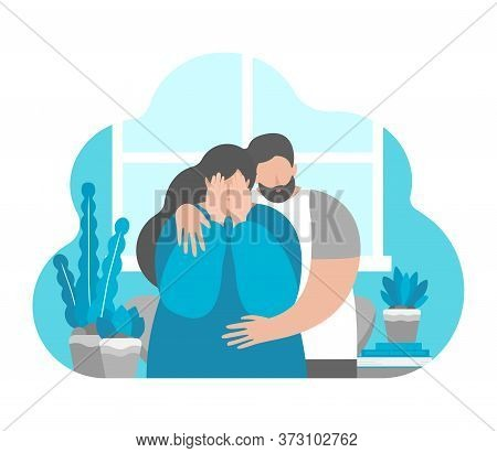 Vector Flat Illustration Concept About Mental Health In Family, Importance To Support Partner In Dep