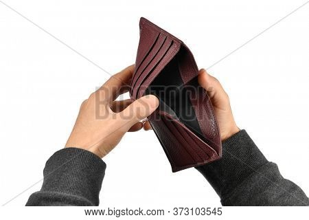 Coronavirus epidemic hits global economy. Empty wallet on hand isolated on white background