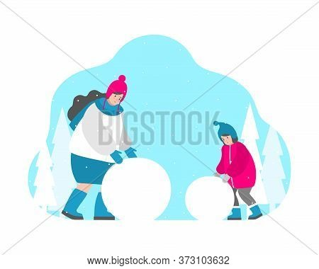 Cute Vector Isolated Concept In Flat Style. Happy Childhood: Mom And Smiling Baby Girl Are Rolling B