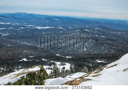 View From Mount Utuya. Winter Landscape In Gornaya Shoria. Russia, Kemerovo Region, Sheregesh Ski Re
