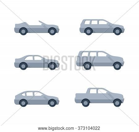 Vector Cars - Set Of Vector Flat Automobiles With Different Car Body - Sedan, Offroad, Roadster, Pic