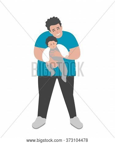 Vector Isolated Flat Illustration With Cartoon Body Positive Father Is Smiling, Holding In His Arms