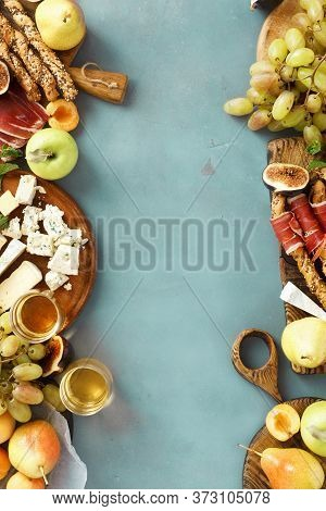 Frame Wine Snacks Fruit Jamon Cheese Copy Space Top View