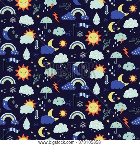 Weather Pattern Flat Illustration. Home And Kids Decoration Series.