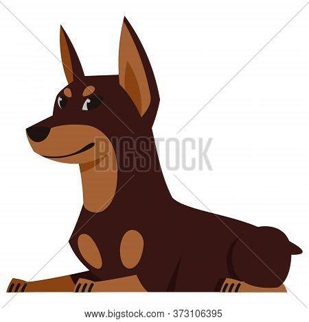 Lying Doberman Side View. Cute Pet In Cartoon Style.