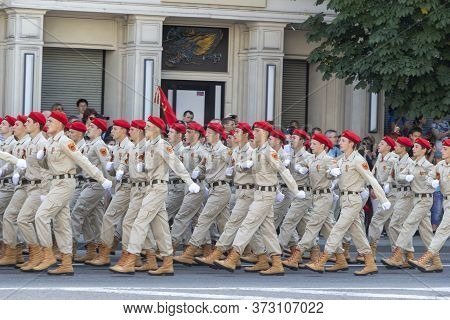 Donetsk, Donetsk People Republic, Ukraine - June 24, 2020: Cadets Of Military Schools In The Form Of