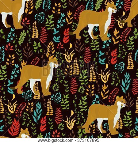 Seamless Vector Pattern With Lioness And Plants On Dark Brown Background.