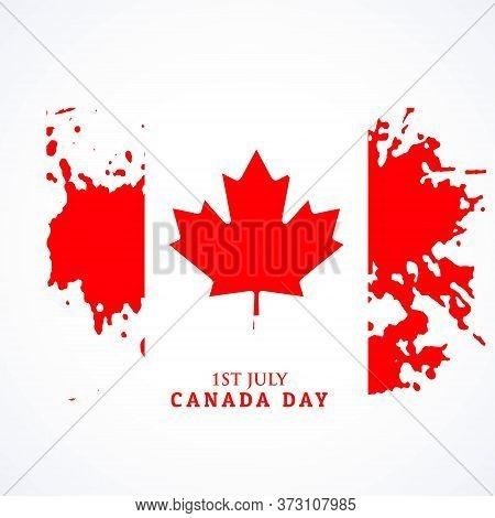 Canadian Flag In Grunge Style  Vector Design Illustration
