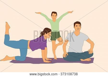 Sport. Happy Family Sports Activities. Mother, Father And Child Do The Workout At Home. Fitness Work