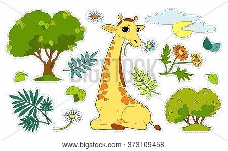 Colorful Sticker Pack With A Giraffe, Trees, Flowers, Sun Isolated On White Background. Cut And Glue