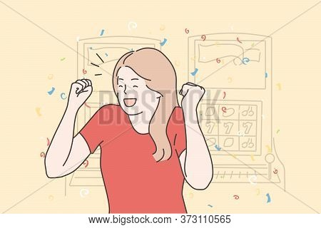 Success, Game, Victory, Gambling, Jackpot Concept. Happy Cheerful Excited Young Woman Girl Winner Ga