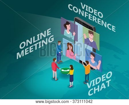Online Meeting Team Video Conference Man On Screen Phone Talking By Internet In Videocall, Chat, Iso