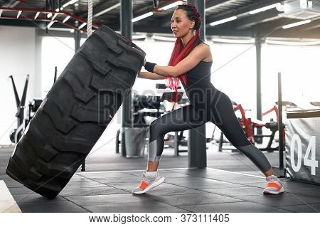 Athlete Sportive Woman Lift Wheel Gym Cross Training Push Big Tire Middle Adult Handsome Sportsman B