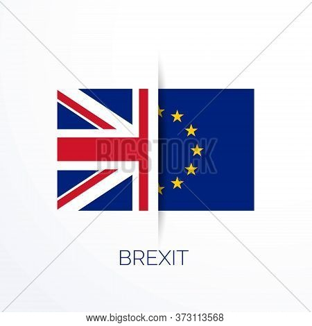 Brexit Referensum With Uk And Eu Flags Vector Design Illustration