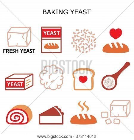 Baking Yeast Vector Color Icons Set - Baking Bread And Cakes Idea, Yeast Dough, Beer And Wine Produc