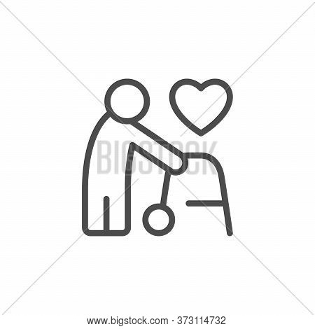 Aged People Support Line Outline Icon Isolated On White. Elderly Human Care. Volunteer And Charity S
