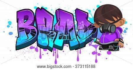 Brad. A Cool Graffiti Name Illustration Inspired By Graffiti And Street Art Culture. Vivid Vibrant C