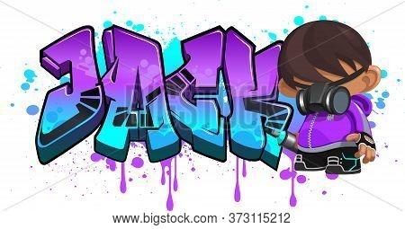 Jack. A Cool Graffiti Name Illustration Inspired By Graffiti And Street Art Culture. Vivid Vibrant C