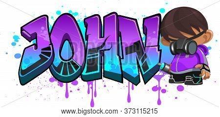 John. A Cool Graffiti Name Illustration Inspired By Graffiti And Street Art Culture. Vivid Vibrant C