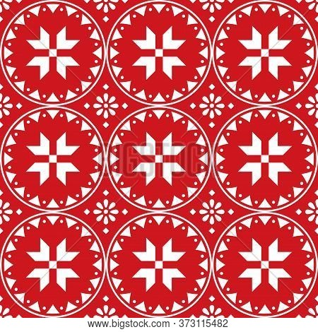 Scandinavian Cute Christmas Seamless Vector Pattern With Snowflakes - Nordic Folk Art Style In White