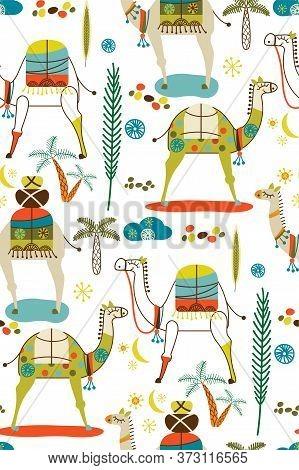 Camel Pattern Flat Color Seamless Design Illustration
