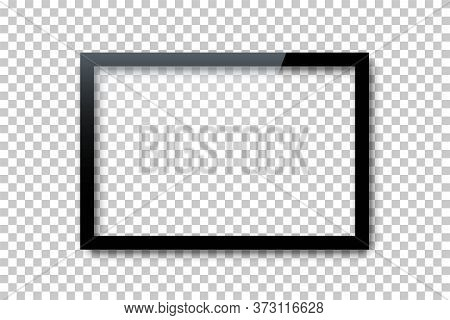 Realistic Vector Blank Screen Lcd, Plasma, Television Panel, Picture, Photo Black Frame Mockup Borde