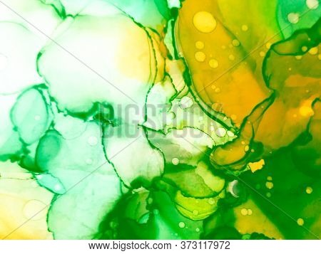 Summer Alcohol Ink Background. Ink Paint Texture. Spring Tones Marble Stone Texture. Green, Pink Art