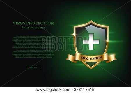 Vector Realistic Illustration Of Vaccination Concept. Vaccine Poster With Green Shield With Cross, G