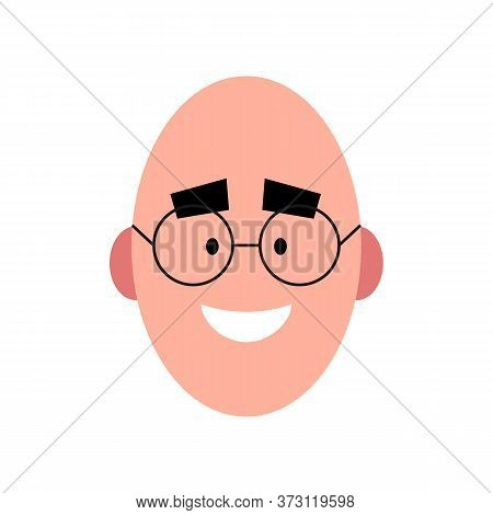Vector Illustration Of A Smiling Bold Man Wearing Glasses. Portrait Of Handsome Cheerful Face With G
