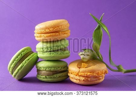 Few Green And Yellow French Macaroons And A Flower On A Purple Background, French Cookies