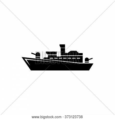 Battleship Destroyer, Warship Cruiser. Flat Vector Icon Illustration. Simple Black Symbol On White B