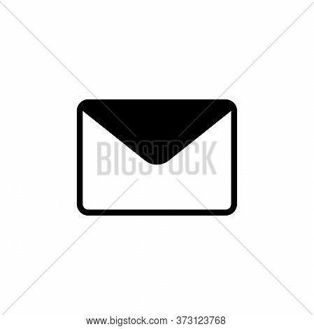 Envelope Mail, Feedback, Post Message. Flat Vector Icon Illustration. Simple Black Symbol On White B