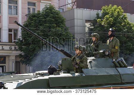 Donetsk, Donetsk People Republic, Ukraine - June 24, 2020: Armed Soldiers In An Airborne Combat Vehi