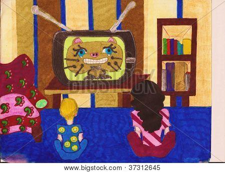 Two Kids Watching Cartoons